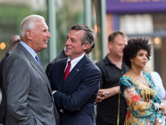 Gov. John Carney and Wilmington Mayor Mike Purzycki share a laugh at The Queen earlier this week.