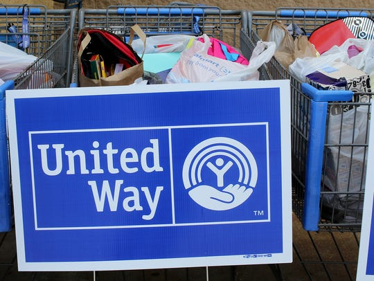 Supplies are collected in shopping carts for the North