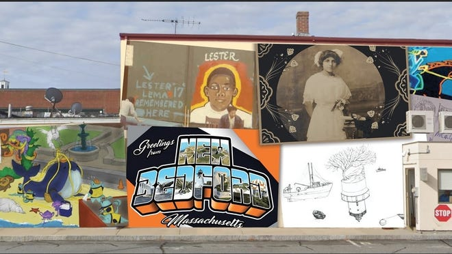"A rendering of the ""Postcards to New Bedford"" mural that is being installed downtown."