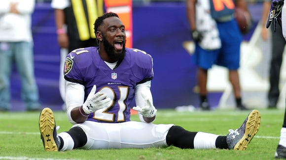 Oct 2, 2016; Baltimore, MD, USA; Baltimore Ravens safety Lardarius Webb (21) reacts in the fourth quarter against the Oakland Raiders at M&T Bank Stadium. Mandatory Credit: Evan Habeeb-USA TODAY Sports