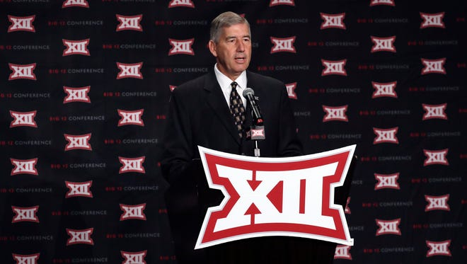 Big 12 commissioner Bob Bowlsby speaks to the media during the Big 12 Media Days at Omni Dallas Hotel.