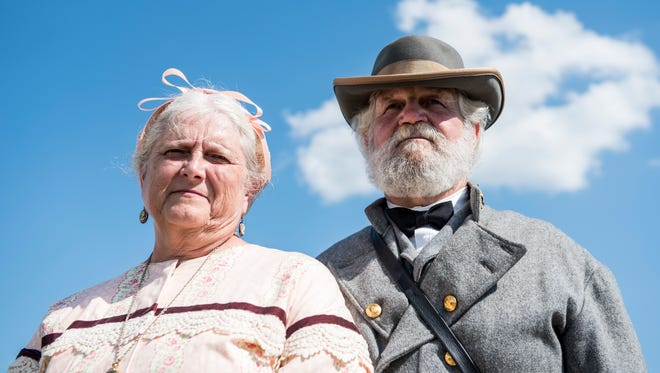 Donna and Earl Weaver, of South Annville, pose for a portrait following their wedding vow renewal ceremony at the Battle of Gettysburg re-enactment site in Freedom Township on July 2, 2017. The Weavers, who are celebrating 50 years of marriage, portrayed General Robert E. Lee and Mary Anna Custis Lee.