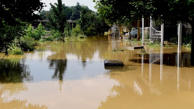 Riverwalk in Owego closed due to Susquehanna River flooding, Wednesday, August 15, 2018.
