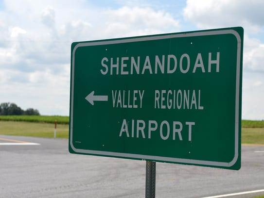A sign points the way to the entrance to the Shenandoah