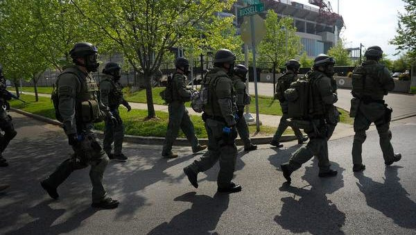 During the Homeland Security crisis exercise, the S.W.A.T team enters LP Field.