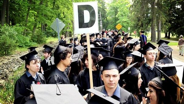 Bard graduates line up before the commencement ceremony Saturday in Annandale.