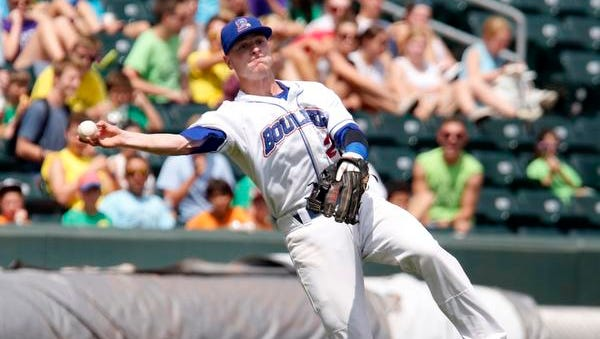 Sean O'Hare of the Rockland Boulders throws to first base during a game against Trois-Rivieres Aigles at Provident Bank Park, Aug. 6, 2014 in Ramapo. Trois-Rivieres Aigles won, 10-5.