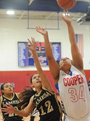 Cooper's Jada Willis (34) shoots over Lamesa's Emma