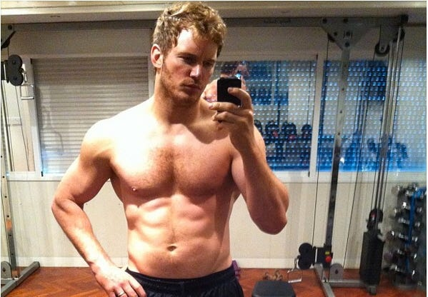 Pratt now: Then, in early July, Pratt, 34, gave the world a gander at his newly sculpted six-pack, chiseled for his upcoming role in 'Guardians of the Galaxy.' The best part of this muscly metamorphosis? Pratt's self-deprecating shirtless selfie caption: 'Six months no beer. #GOTG Kinda douche-y to post this but my brother made me.'  Measure of metamorphosis: 3
