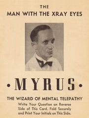 "Card of ""Myrus the Mentalist"" in 1937 that was filled"