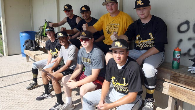 New London's 2020 Baseball roster is filled with brothers. The brothers are shown, in bacek from left, Sophomore Ryan Richey, Senior Holvin Catala, Senior Jaxon Allen, and Senior Cameron Raines, and front row, from left, 8th grader Brendan Richey, Sophomore Josh Catala, Sophomore Carter Allen, and 8th grader Michael Raines.
