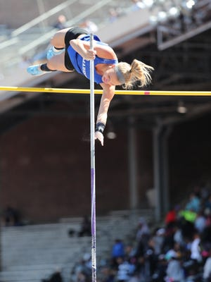 Sydney Woods, of NV/Demarest, cleared the bar at 12-6½ during the North 1, Group 2 sectionals at River Dell on Friday, May 25, 2018, breaking the mark of 12-6 held by Woods' former teammate Michelle Rubinetti.