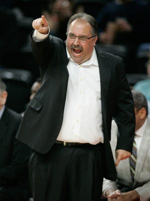 Detroit Pistons Stan Van Gundy calls a play during second period action against the Miami Heat's on Tuesday, April 12, 2016 at The Palace of Auburn Hills.