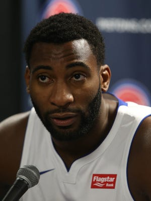 Pistons' Andre Drummond talks with reporters at media day Sept. 25, 2017 at the Palace in Auburn Hills.