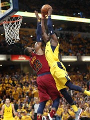 Indiana Pacers guard Victor Oladipo (4) goes up for