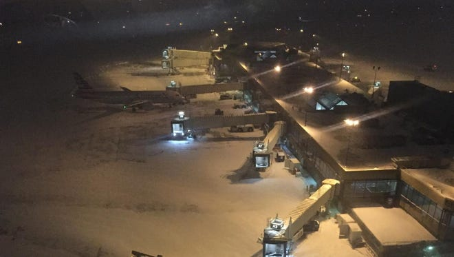 American Airlines gates sit nearly empty in Philadelphia during the Blizzard of 2016. Carriers say it's best to try to keep their aircraft out of the path of severe weather.