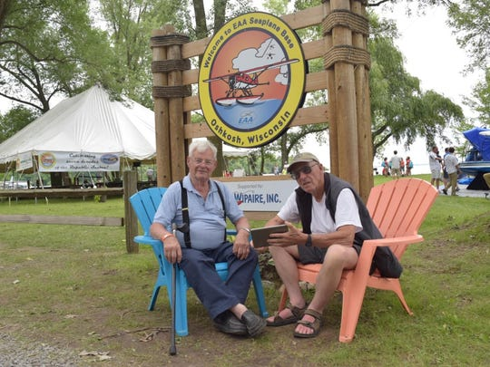 Jon Ohnstad of Fargo, North Dakota, left, and his friend, Paul Trudel of Langley, British Columbia, Canada are frequent visitors to EAA AirVenture.