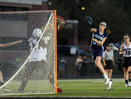 Manheim Township's Sara Elias fires a shot on goal against Lancaster Country Day. Manheim Township defeated Lancaster Country Day 12-11 in double overtime to capture the LL League Championship on Thursday, May 7, 2015 at Warwick High School. Patrick Blain for GameTimePA.com