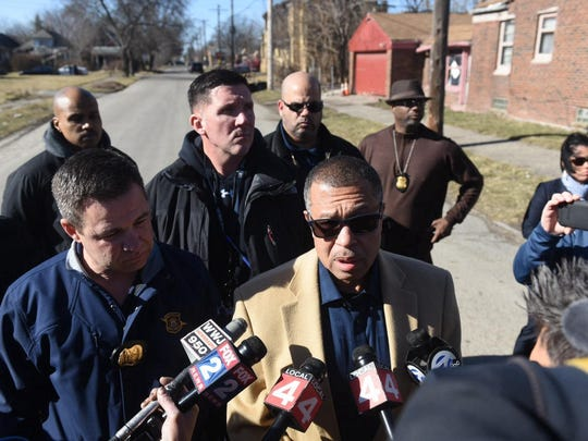 Detroit Police Chief James Craig briefed the news media about the discovery of two bodies in a burned out home on Lakeview Street and Forest Avenue on Saturday.