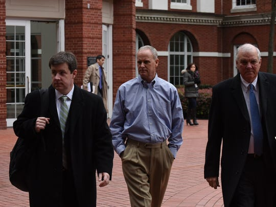 John Freeman, former vice president of sales at Pilot Flying J, leaves court Tuesday, Feb. 9, 2016. A federal judge denied the request by Freeman and other former executives to move their trial outside Knoxville.