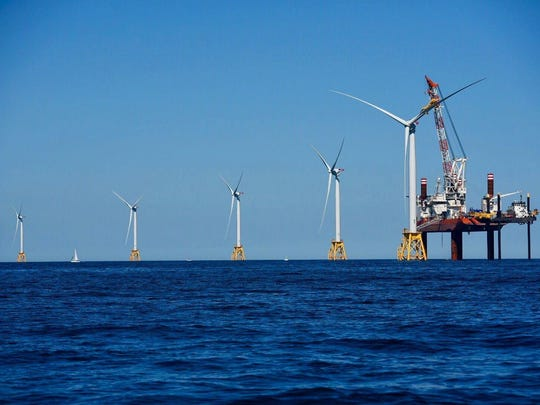 Offshore wind turbines placed by Deepwater Wind off the coast of Block Island, Rhode Island. Ocean City Council is concerned how they would look locally.