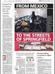 A News-Leader front page from June 2014, featuring a story on the increasing amount of meth in the Springfield area that was originally manufactured in Mexico. The number of small-scale meth labs in the United States has declined in recent years.