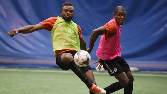 Sioux Falls Thunder F.C., the new men's soccer club based in Sioux Falls, practices at the Avera Sports Dome last week.