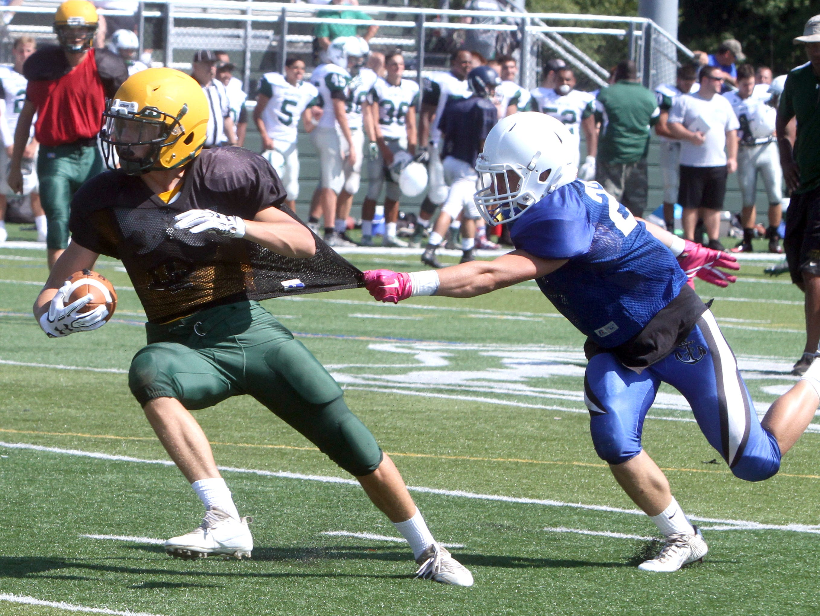 Lakeland and Hendrick Hudson play during a multi-team football scrimmage at Brewster High School Aug. 27, 2016. Several area teams took part in the scrimmage in advance of next weekend's season opening games.