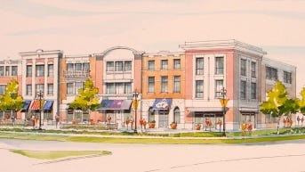 A streetview rendering of a $40 million mixed-use development proposed for the site of  Westfield High's football stadium.