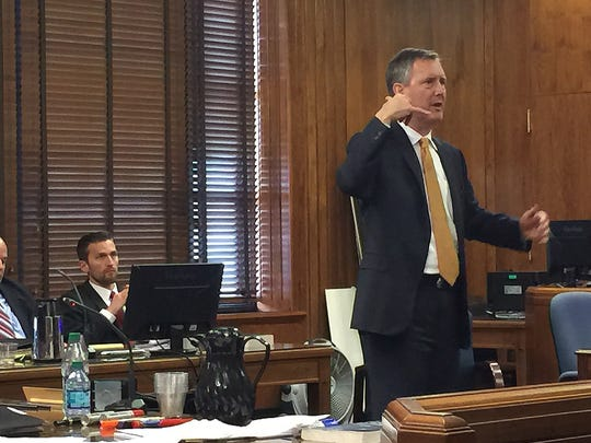 Defense attorney Marc Dedman speaks to the jury during his opening statements in the Erin Andrews-Marriott hotels trial before Judge Hamilton Gayden in the Historic Courthouse Feb. 23, in Nashville, Tennessee.