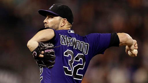 Colorado Rockies pitcher Tyler Chatwood works against the San Francisco Giants during the first inning of a baseball game Wednesday, Sept. 28, 2016, in San Francisco. (AP Photo/Ben Margot)