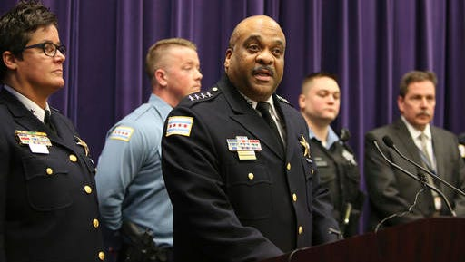 Chicago Police Superintendent Eddie Johnson speaks during a news conference Thursday, Jan. 5, 2017, on the hate crime and other charges filed against four individuals for an attack on a man that was captured on a Facebook video. (Antonio Perez/Chicago Tribune via AP)