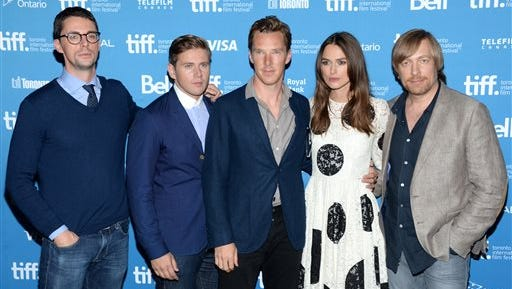 """Matthew Goode, from left, Allen Leech, Benedict Cumberbatch, Keira Knightley and Morten Tyldum attend the press conference for """"The Imitation Game"""" on day 6 of the Toronto International Film Festival at the TIFF Bell Lightbox on Sept. 6."""