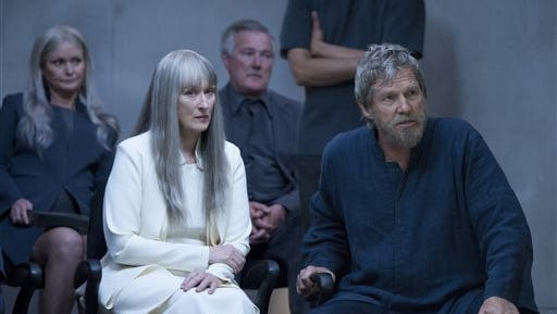 "This image released by The Weinstein Company shows Meryl Streep, left, and Jeff Bridges in a scene from ""The Giver."""