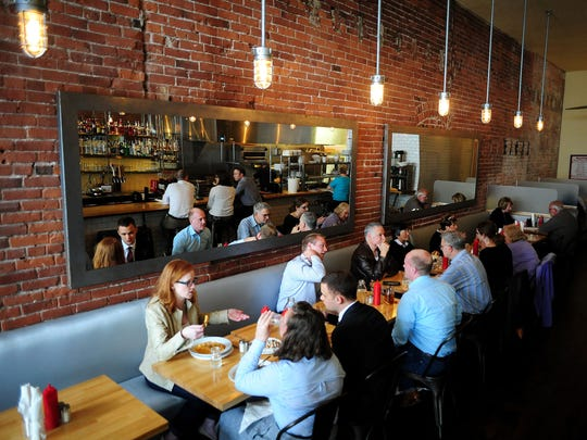 Diners eat during lunch time at Kitchen on Court Street.