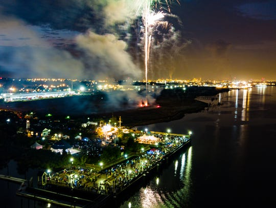 Fireworks over the Carteret waterfront.