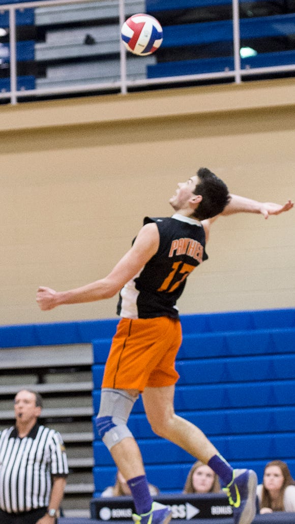 Central York's Hayden Wagner fired home 24 kills Wednesday night in the Panthers' 3-0 win over Chambersburg.