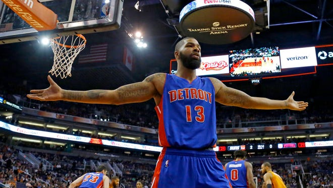 Detroit Pistons forward Marcus Morris (13) against the Phoenix Suns in the first half of their NBA game Friday Nov. 6, 2015 in Phoenix, Ariz.
