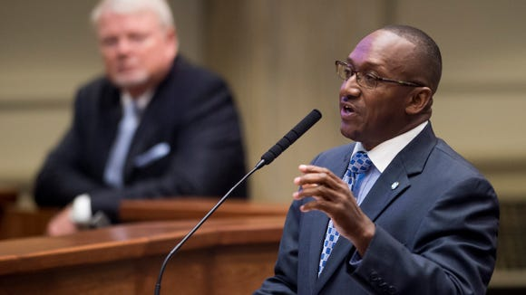 Sen. Bobby Singleton speaks during the Special Session of the Alabama Legislature at the Alabama Statehouse in Montgomery, Ala. on August 18, 2016.