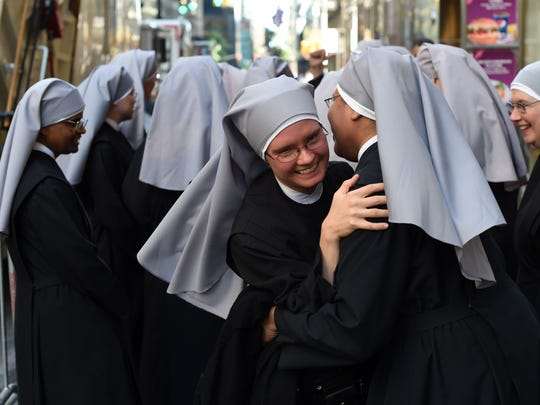 Nuns from the Little Sisters of the Poor gathered in