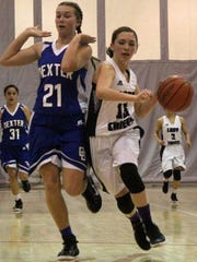 Ariel Aguilar, right, drives past Dexter's Marlou Blankvoort. Dexter defeated Mescalero Apache 49-43 Friday night.