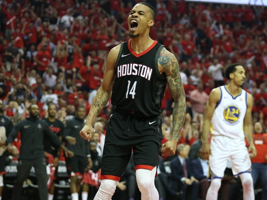 May 16: Gerald Green reacts after a dunk during the first half of Game 2.