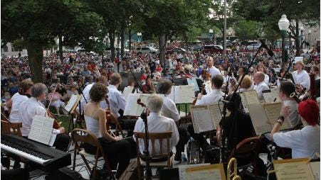 The Michigan Philharmonic plays for an outdoor crowd.