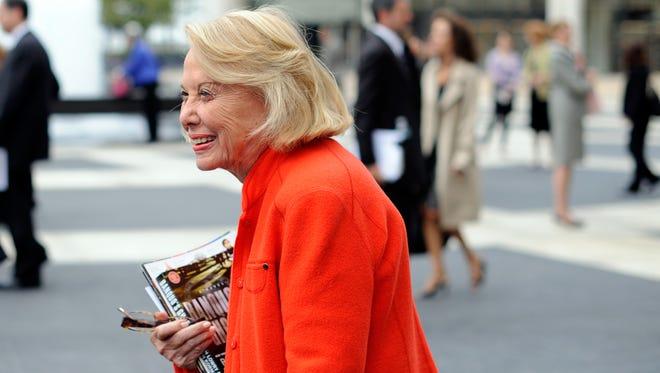 Liz Smith leaves the Celebration of Life Memorial ceremony for Walter Cronkite in 2009 in New YOrk.