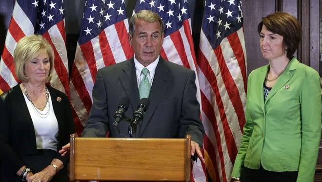 House Speaker John Boehner, R-Ohio, discusses the GOP agenda alongside Reps. Diane Black, R-Tenn., and Cathy McMorris Rodgers, R-Wash., on Sept. 17, 2015.