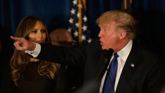 Donald Trump speaks at his primary night watch party