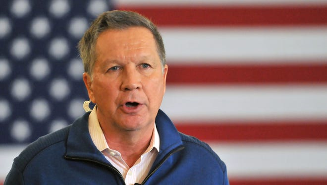 Republican presidential candidate, Ohio Gov. John Kasich, speaks at a rally in Traverse City, Mich., Saturday, March 5, 2016.