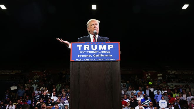 Donald Trump speaks at a rally on May 27, 2016, in Fresno, Calif.