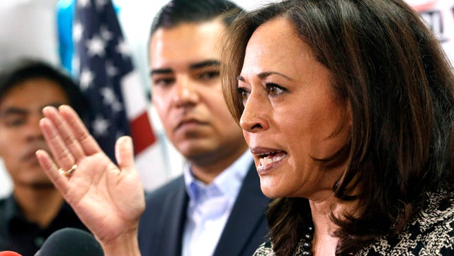 Senator-elect Kamala Harris meets with immigrant families and their advocates to discuss the election results and the nation's future at The Coalition for Humane Immigrant Rights in Los Angeles, Thursday, Nov. 10, 2016. Harris said she will fight to preserve protections advocates fear could be dismantled once Donald Trump becomes president.
