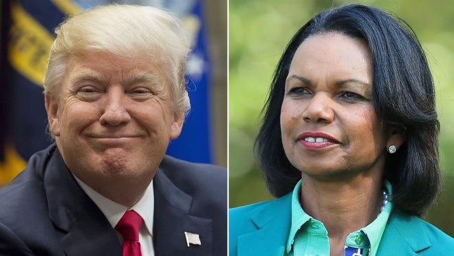 President Trump and former secretary of State Condoleezza Rice.